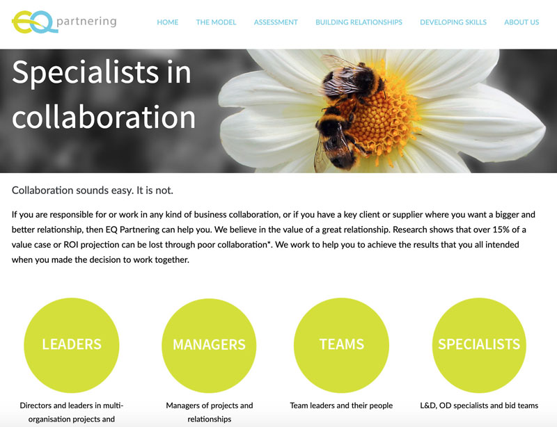 Website for EQ Partnering, Nottingham