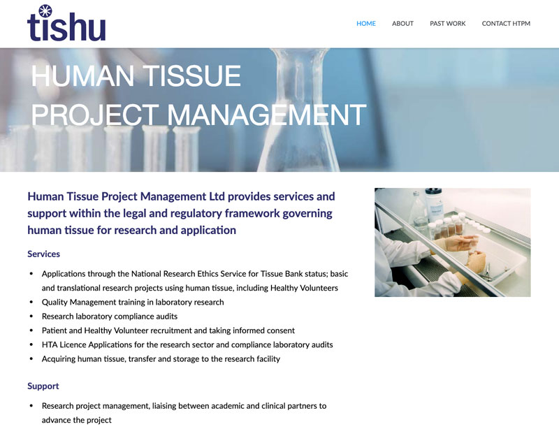 Website for Human Tissue Project Management